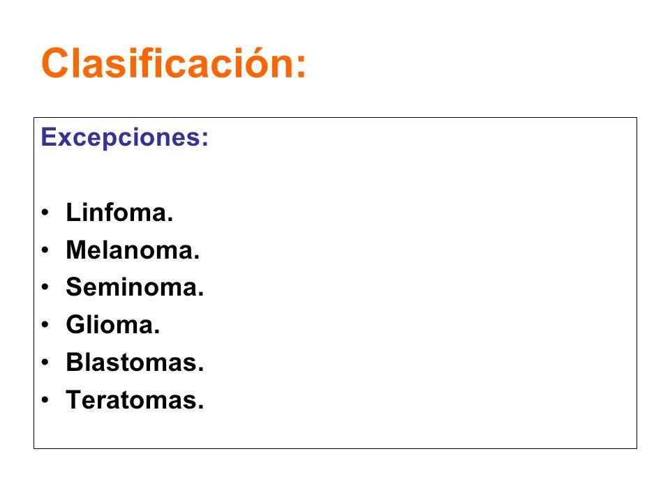 Clasificación: Excepciones: Linfoma. Melanoma. Seminoma. Glioma.