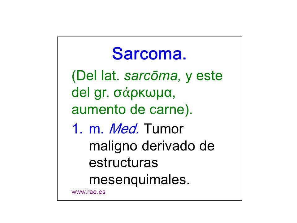Sarcoma. (Del lat. sarcōma, y este del gr. σάρκωμα, aumento de carne).