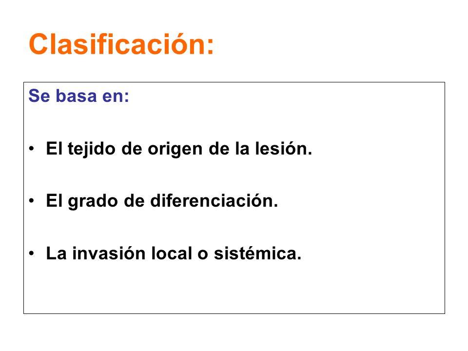 Clasificación: Se basa en: El tejido de origen de la lesión.