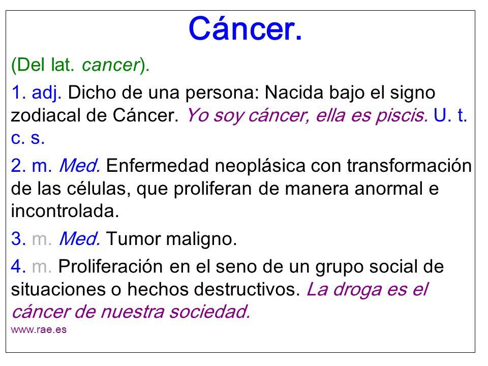 Cáncer. (Del lat. cancer).