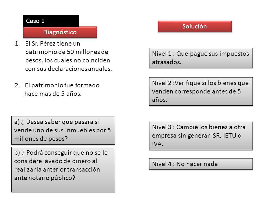 Caso 1 Solución. Diagnóstico. El Sr. Pérez tiene un patrimonio de 50 millones de pesos, los cuales no coinciden con sus declaraciones anuales.