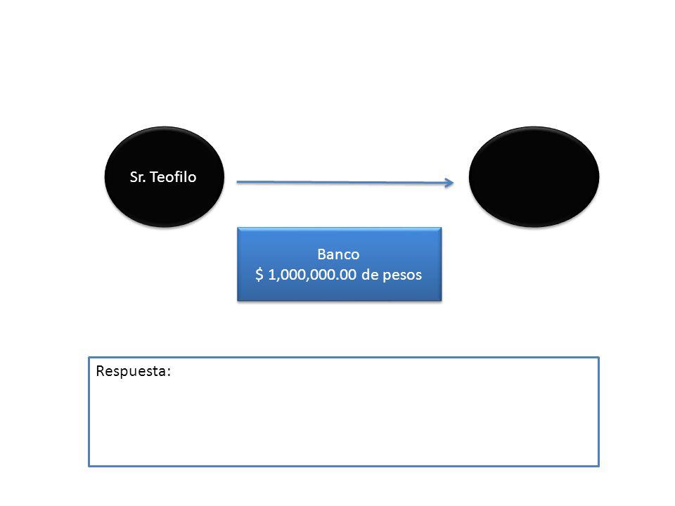 Sr. Teofilo Banco $ 1,000,000.00 de pesos Respuesta: