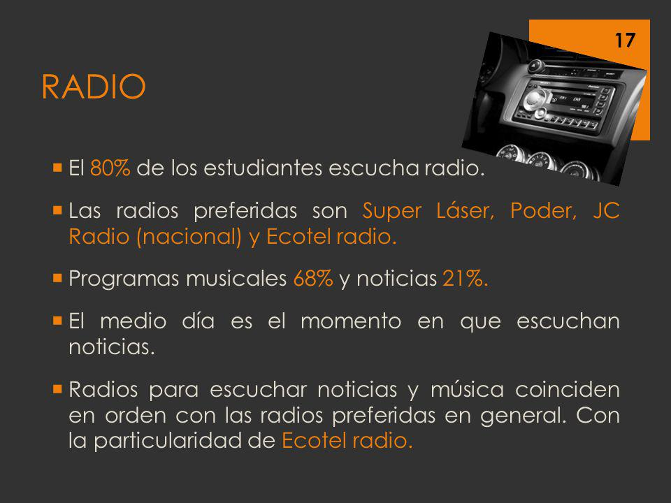 RADIO El 80% de los estudiantes escucha radio.