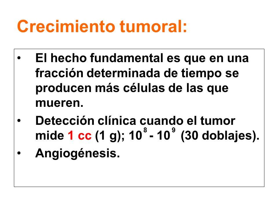 Crecimiento tumoral: El hecho fundamental es que en una fracción determinada de tiempo se producen más células de las que mueren.