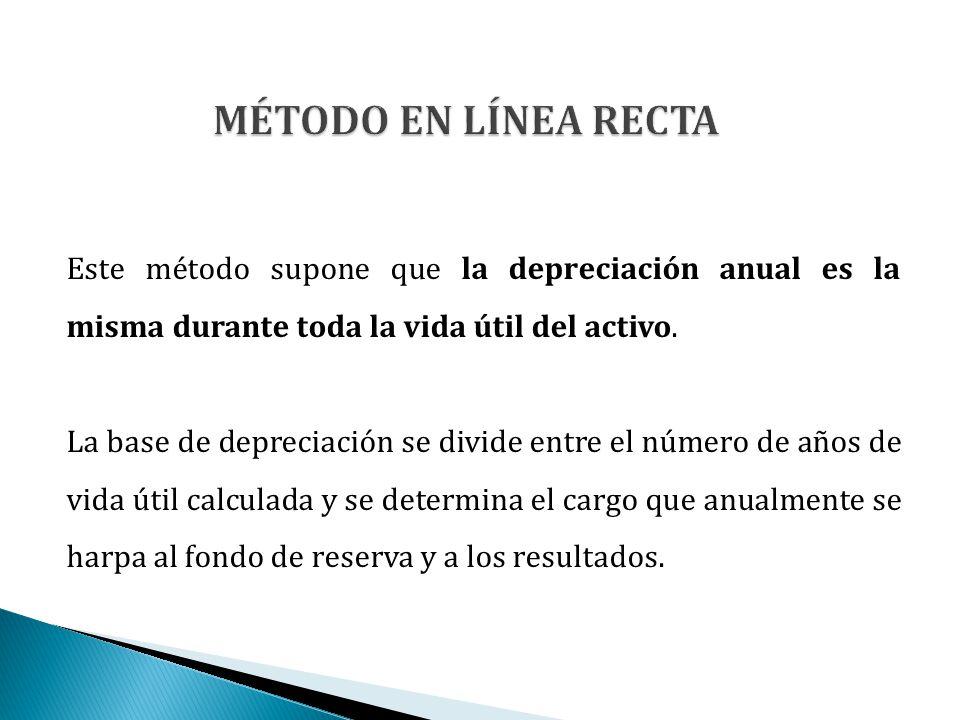 MÉTODO EN LÍNEA RECTA Este método supone que la depreciación anual es la misma durante toda la vida útil del activo.