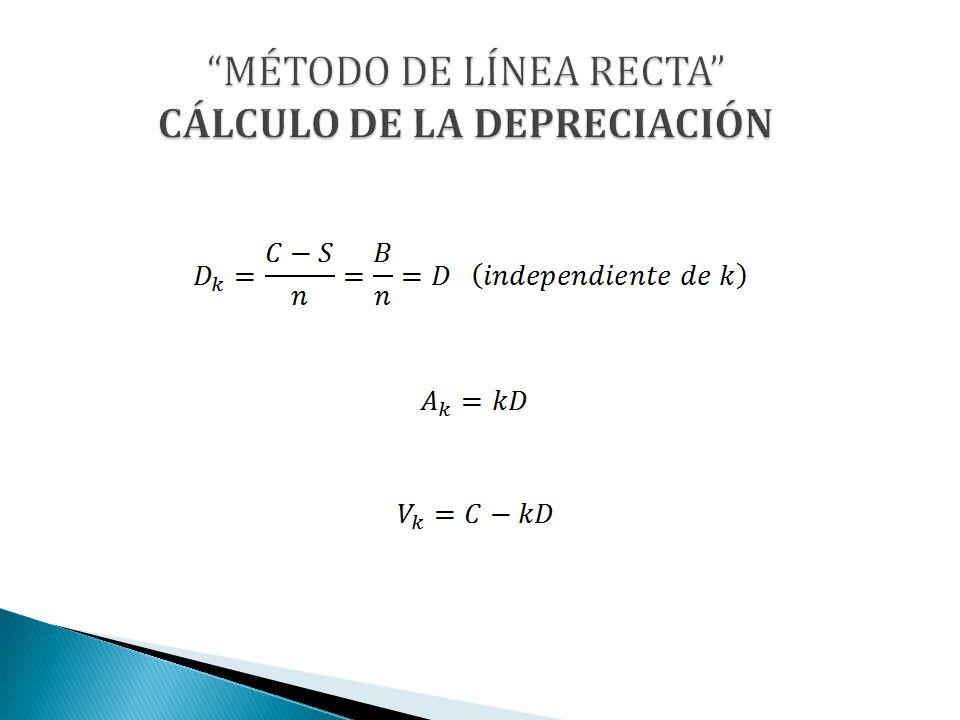 MÉTODO DE LÍNEA RECTA CÁLCULO DE LA DEPRECIACIÓN