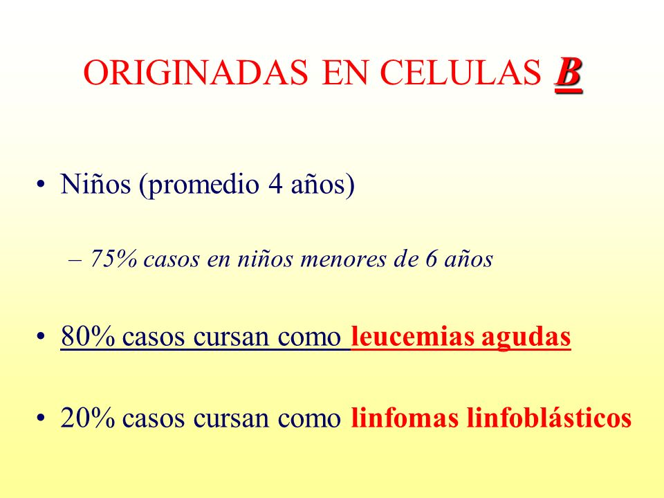 ORIGINADAS EN CELULAS B