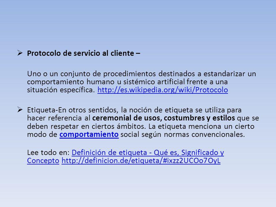 Protocolo de servicio al cliente –