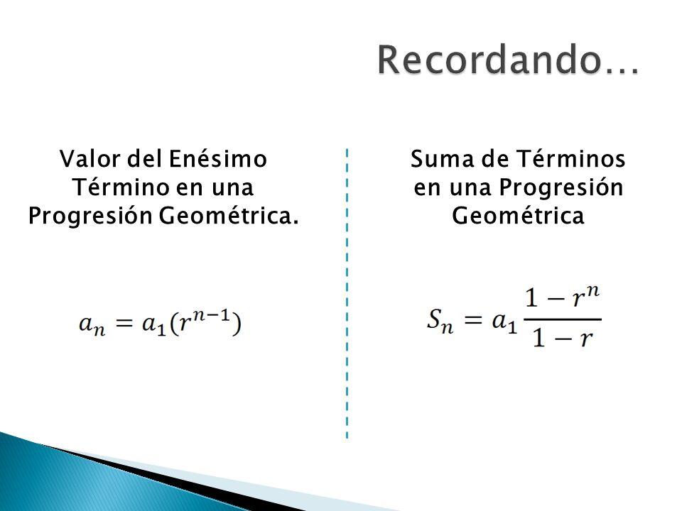 Recordando… Valor del Enésimo Término en una Progresión Geométrica.