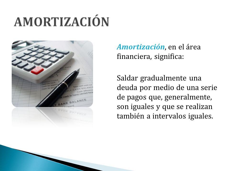 AMORTIZACIÓN Amortización, en el área financiera, significa: