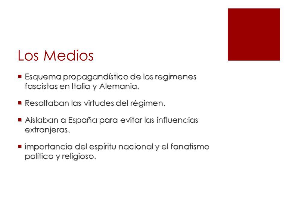 Los Medios Esquema propagandístico de los regimenes fascistas en Italia y Alemania. Resaltaban las virtudes del régimen.