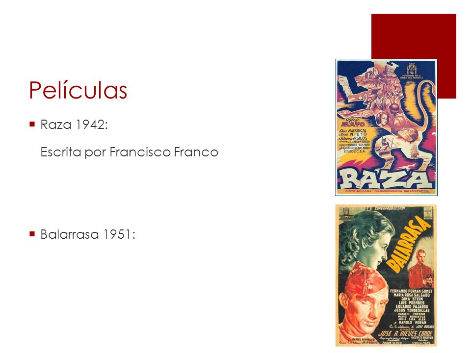 Películas Raza 1942: Escrita por Francisco Franco Balarrasa 1951: