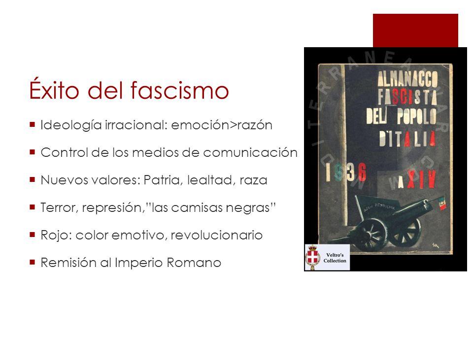 Éxito del fascismo Ideología irracional: emoción>razón