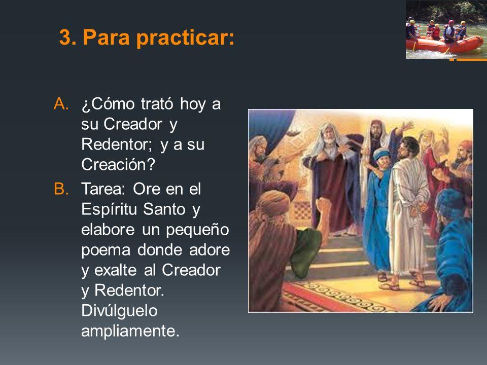 3. Para practicar: ¿Cómo trató hoy a su Creador y Redentor; y a su Creación