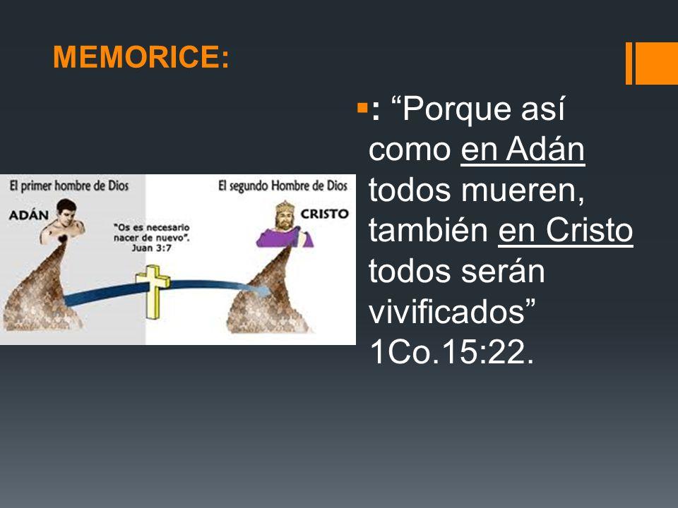 MEMORICE: : Porque así como en Adán todos mueren, también en Cristo todos serán vivificados 1Co.15:22.