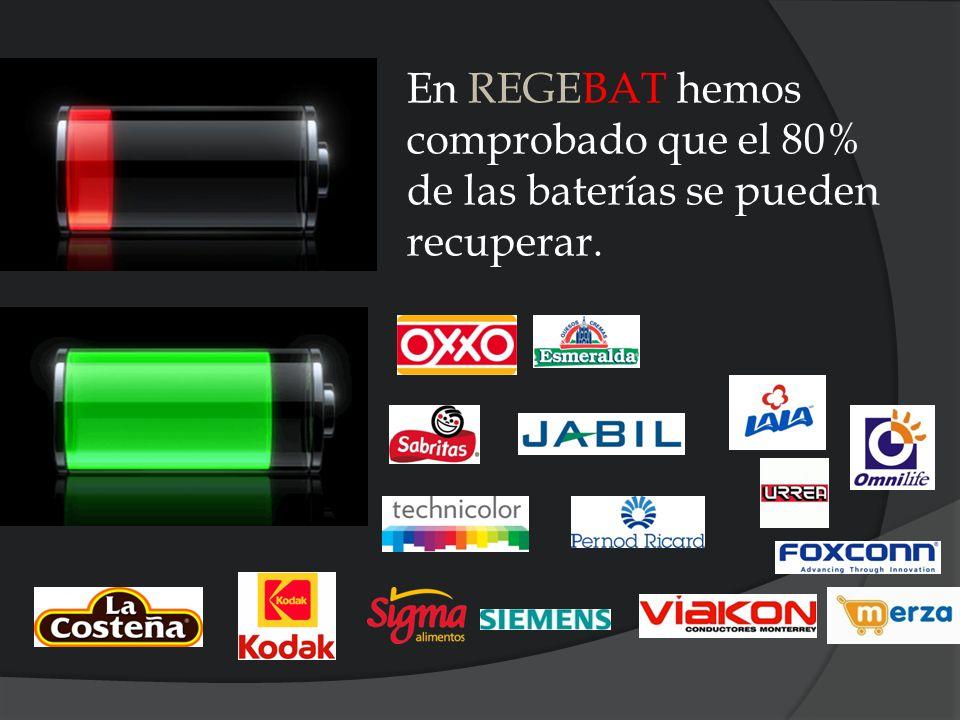 En REGEBAT hemos comprobado que el 80% de las baterías se pueden recuperar.