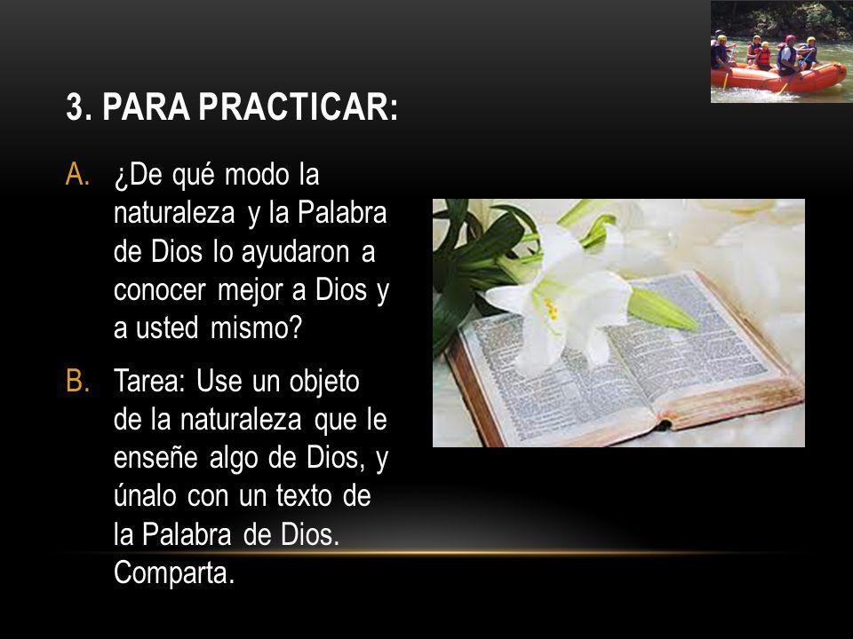 3. Para practicar: ¿De qué modo la naturaleza y la Palabra de Dios lo ayudaron a conocer mejor a Dios y a usted mismo