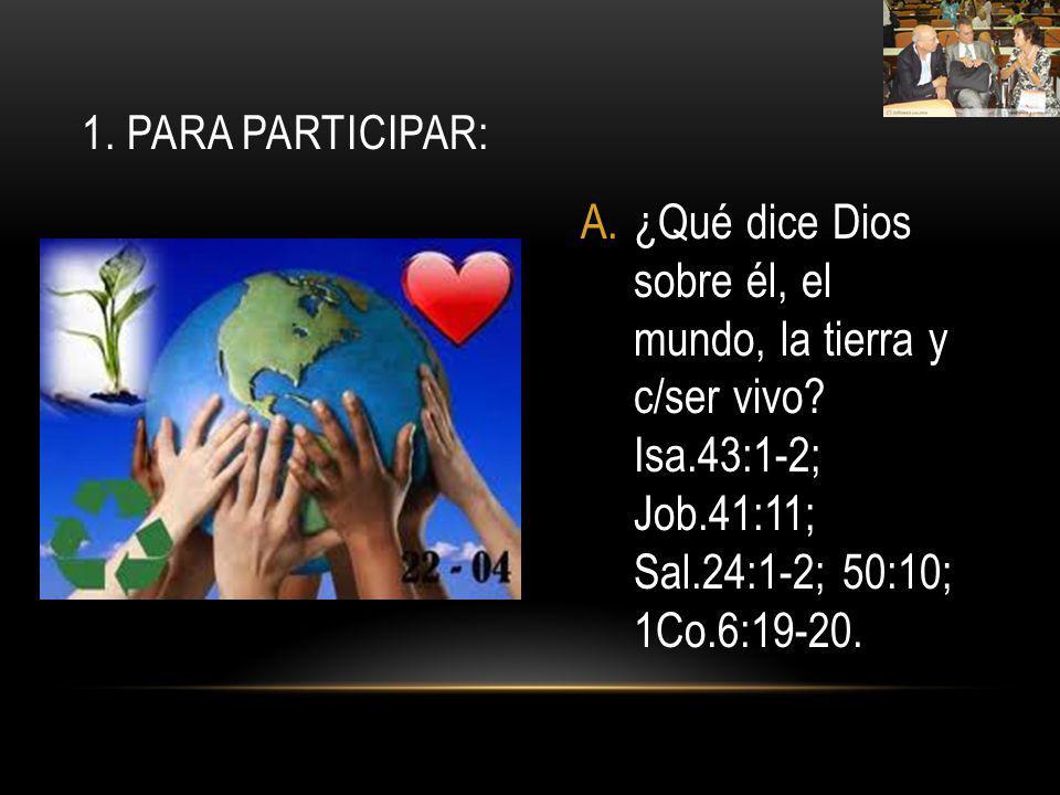 1. Para participar: ¿Qué dice Dios sobre él, el mundo, la tierra y c/ser vivo.