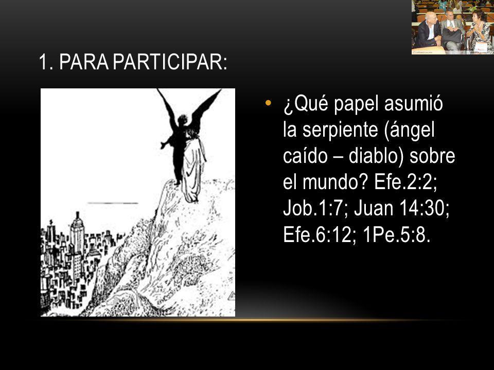 1. Para participar: ¿Qué papel asumió la serpiente (ángel caído – diablo) sobre el mundo.