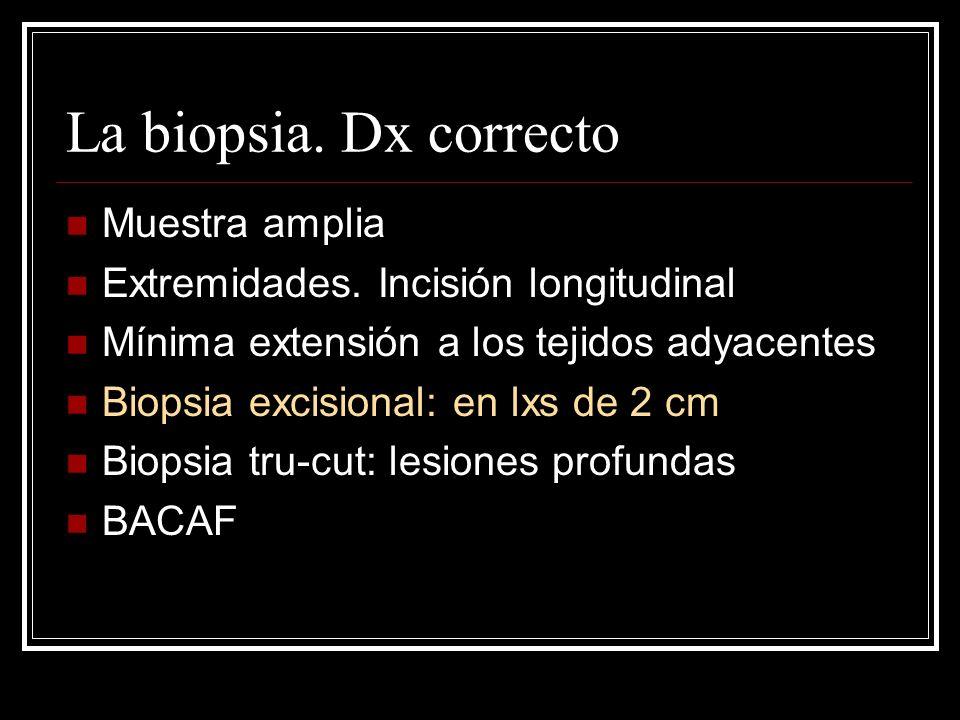 La biopsia. Dx correcto Muestra amplia