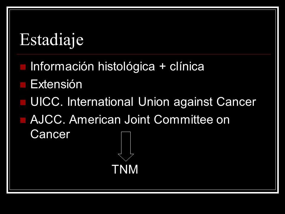 Estadiaje Información histológica + clínica Extensión