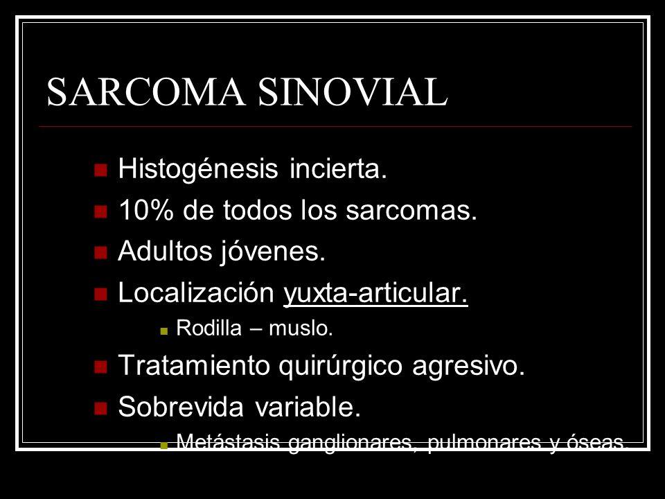 SARCOMA SINOVIAL Histogénesis incierta. 10% de todos los sarcomas.