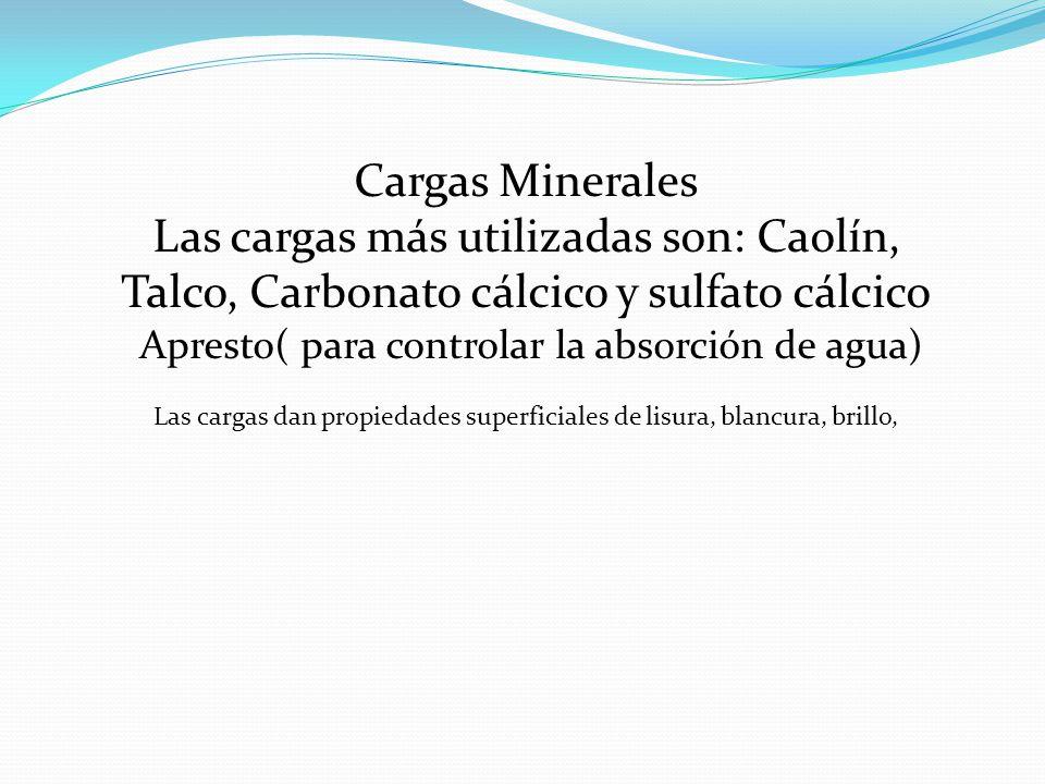 Cargas Minerales Las cargas más utilizadas son: Caolín, Talco, Carbonato cálcico y sulfato cálcico.
