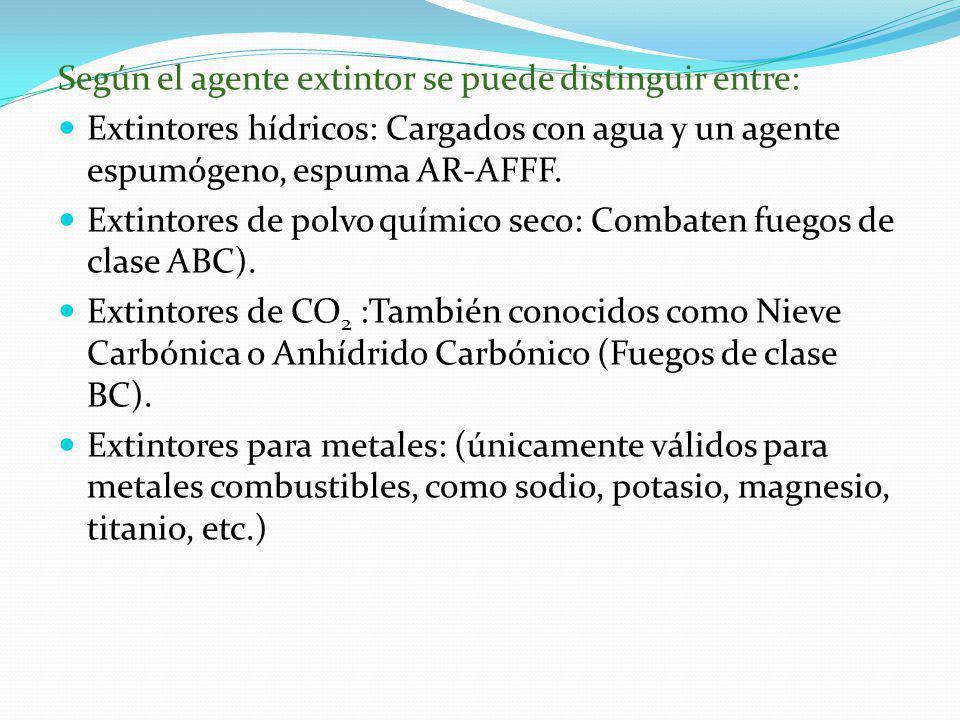 Según el agente extintor se puede distinguir entre: