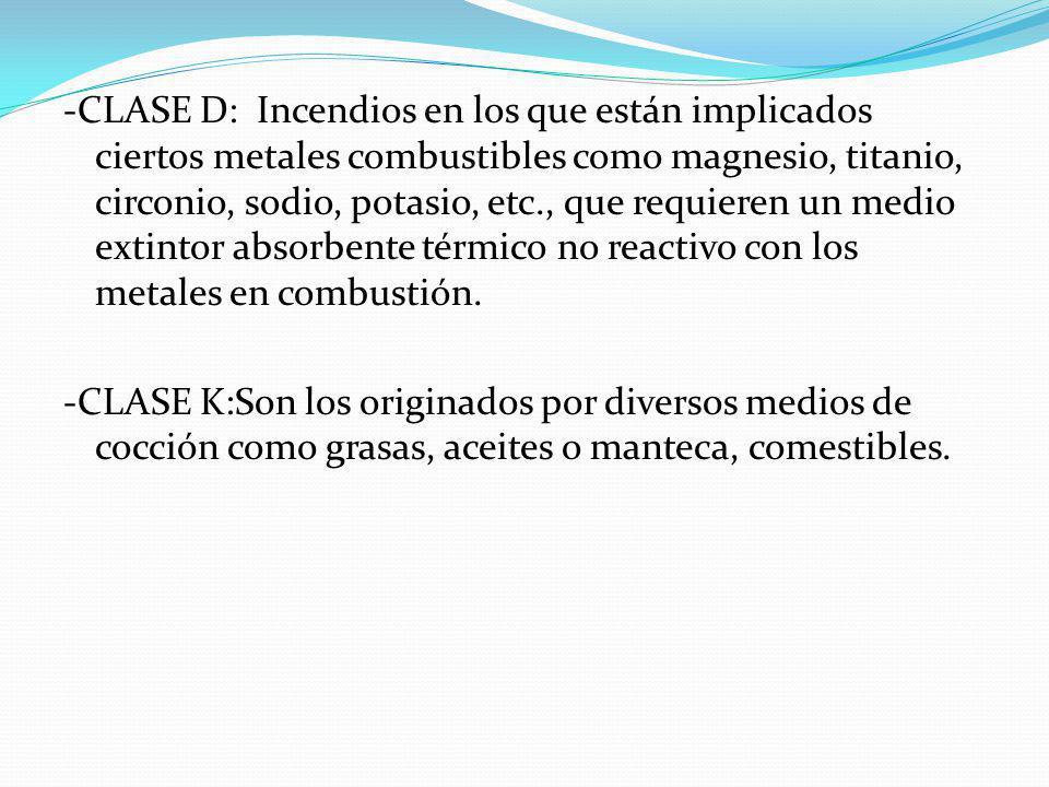 -CLASE D: Incendios en los que están implicados ciertos metales combustibles como magnesio, titanio, circonio, sodio, potasio, etc., que requieren un medio extintor absorbente térmico no reactivo con los metales en combustión.