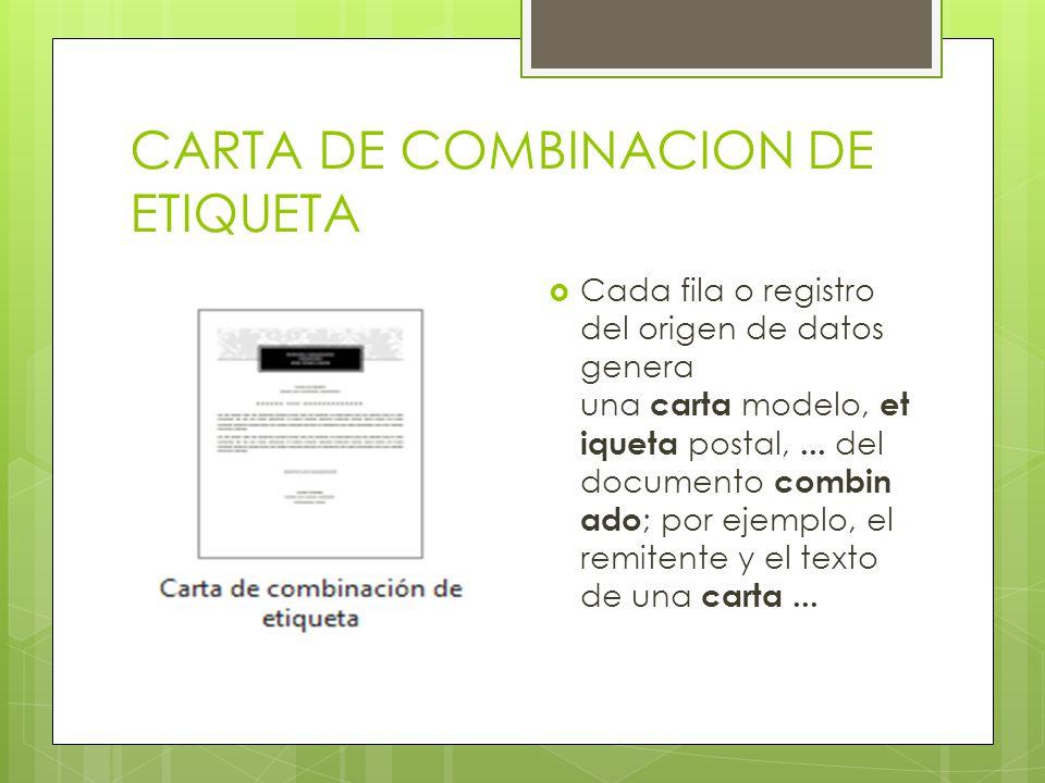 CARTA DE COMBINACION DE ETIQUETA