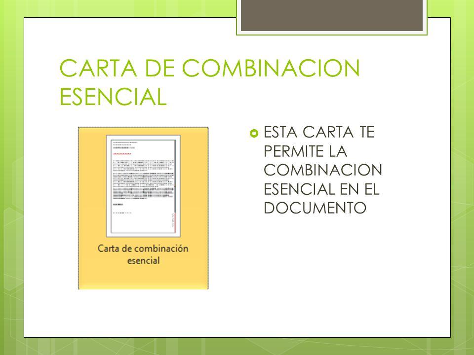 CARTA DE COMBINACION ESENCIAL