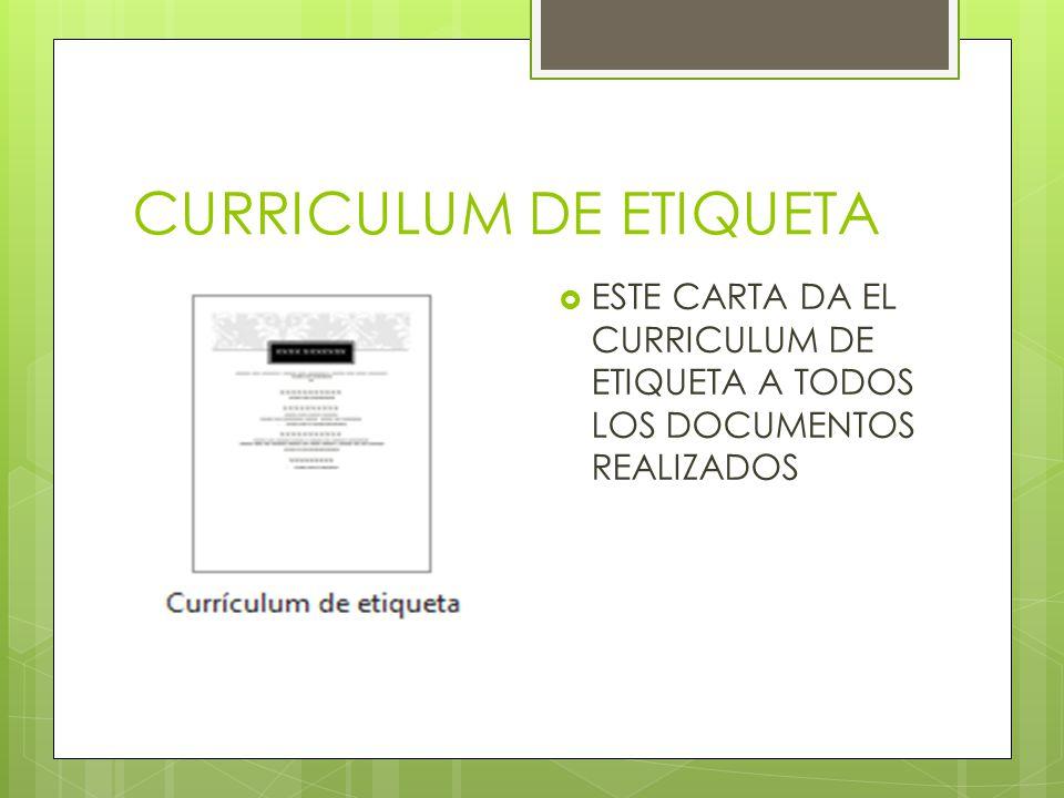 CURRICULUM DE ETIQUETA