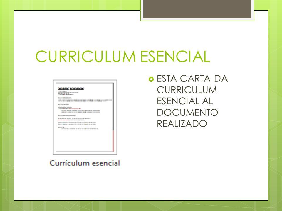CURRICULUM ESENCIAL ESTA CARTA DA CURRICULUM ESENCIAL AL DOCUMENTO REALIZADO