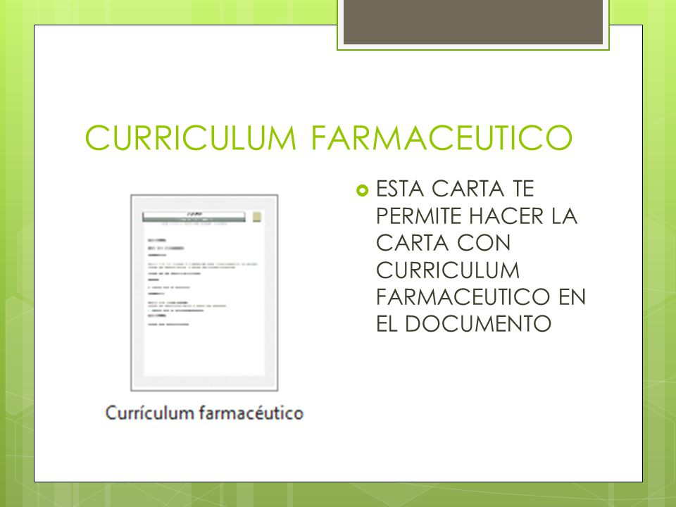 CURRICULUM FARMACEUTICO