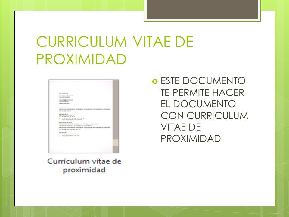 CURRICULUM VITAE DE PROXIMIDAD