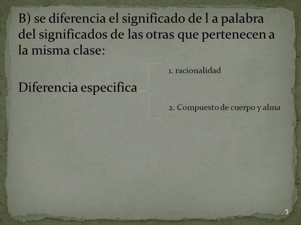 B) se diferencia el significado de l a palabra del significados de las otras que pertenecen a la misma clase: