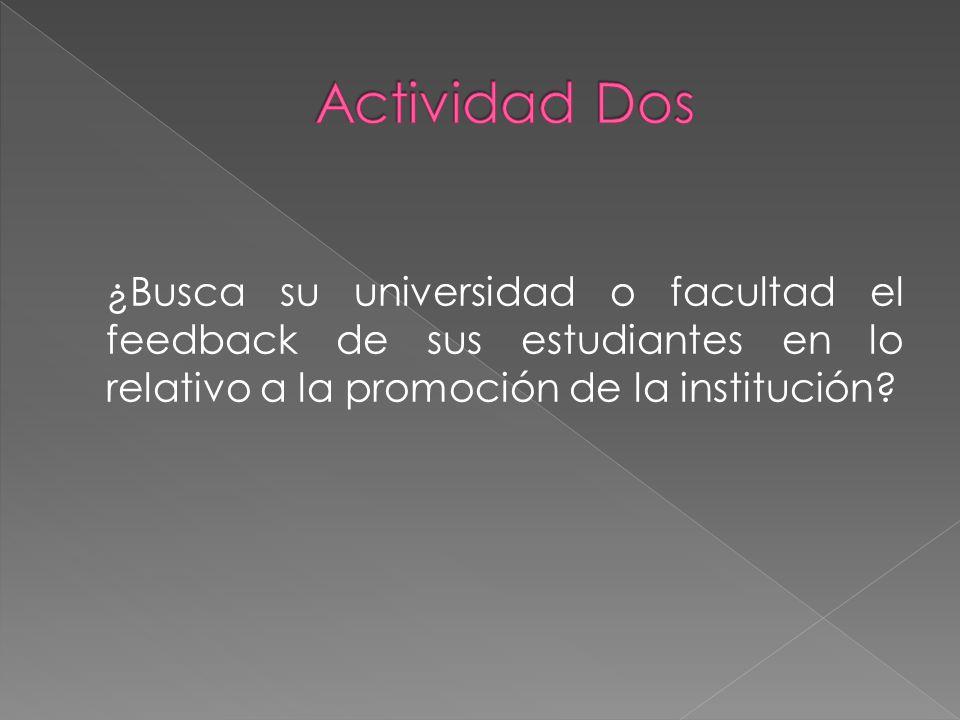 Actividad Dos ¿Busca su universidad o facultad el feedback de sus estudiantes en lo relativo a la promoción de la institución