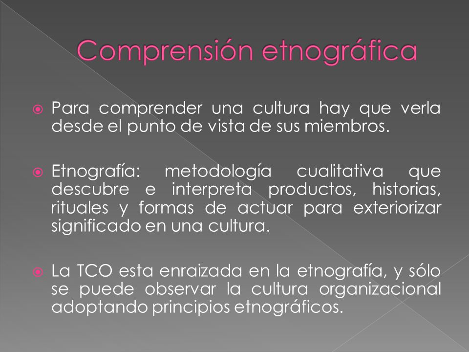 Comprensión etnográfica