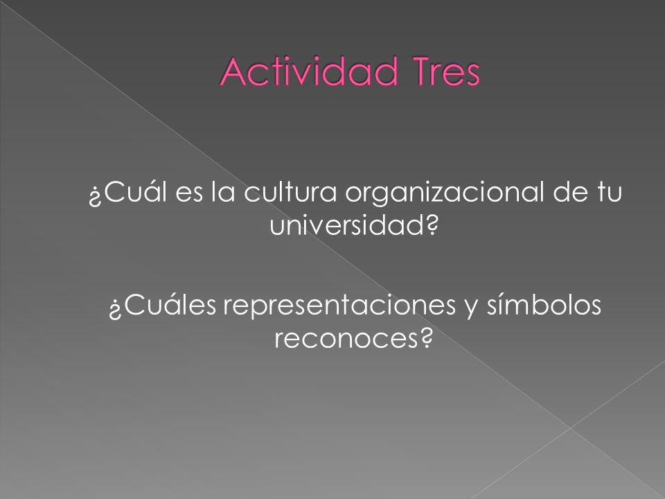 Actividad Tres ¿Cuál es la cultura organizacional de tu universidad.