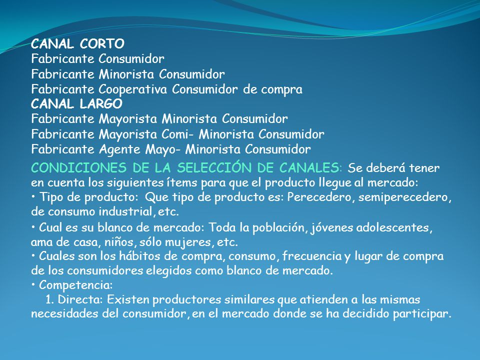 CANAL CORTO Fabricante Consumidor Fabricante Minorista Consumidor Fabricante Cooperativa Consumidor de compra