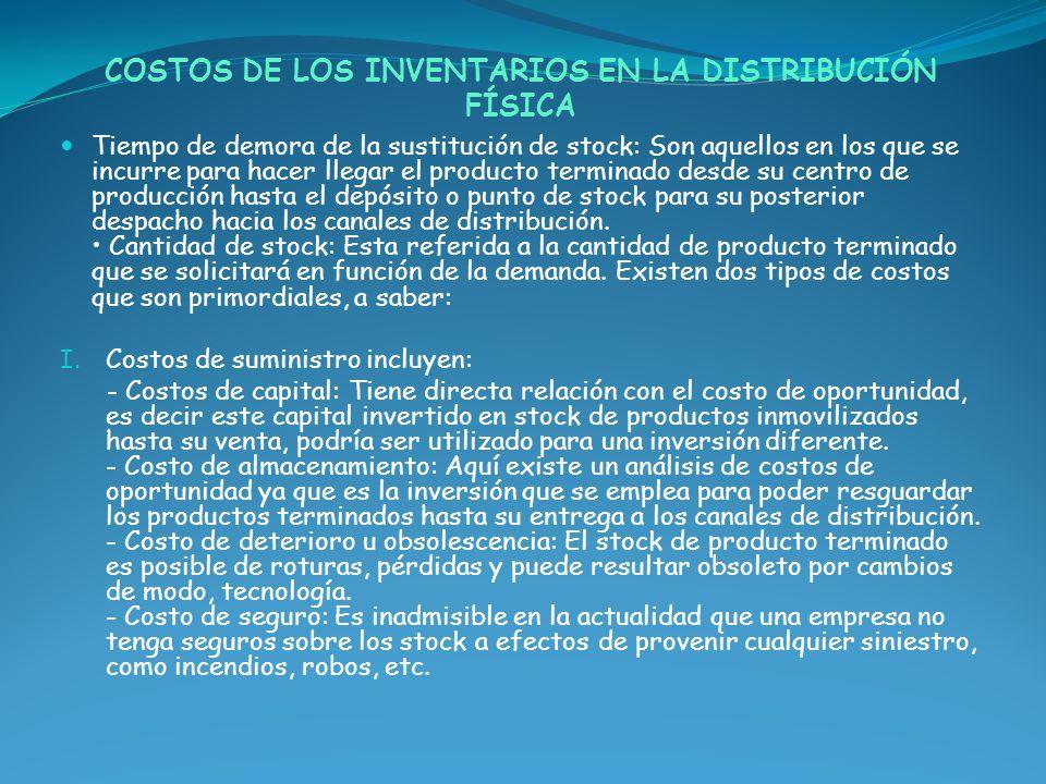 COSTOS DE LOS INVENTARIOS EN LA DISTRIBUCIÓN FÍSICA