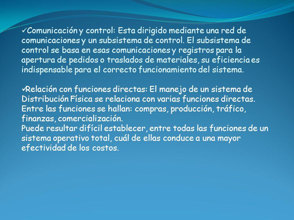 Comunicación y control: Esta dirigido mediante una red de comunicaciones y un subsistema de control. El subsistema de control se basa en esas comunicaciones y registros para la apertura de pedidos o traslados de materiales, su eficiencia es indispensable para el correcto funcionamiento del sistema.