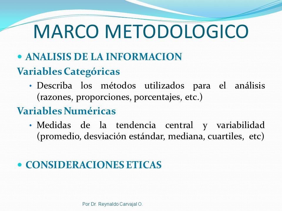 MARCO METODOLOGICO ANALISIS DE LA INFORMACION Variables Categóricas