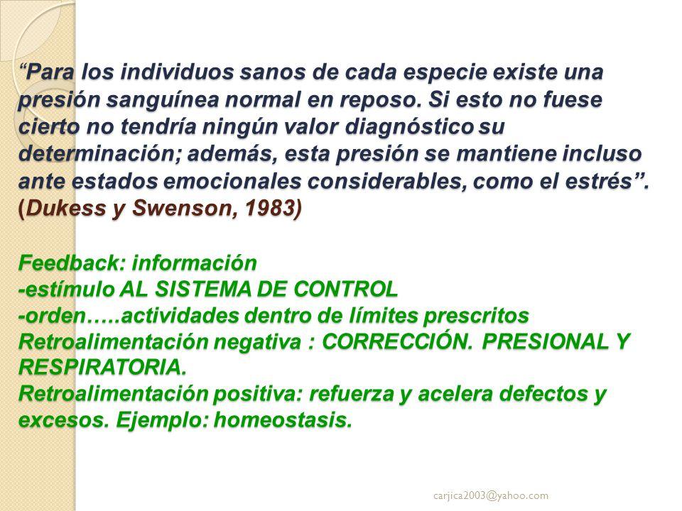 Para los individuos sanos de cada especie existe una presión sanguínea normal en reposo. Si esto no fuese cierto no tendría ningún valor diagnóstico su determinación; además, esta presión se mantiene incluso ante estados emocionales considerables, como el estrés . (Dukess y Swenson, 1983) Feedback: información -estímulo AL SISTEMA DE CONTROL -orden…..actividades dentro de límites prescritos Retroalimentación negativa : CORRECCIÓN. PRESIONAL Y RESPIRATORIA. Retroalimentación positiva: refuerza y acelera defectos y excesos. Ejemplo: homeostasis.
