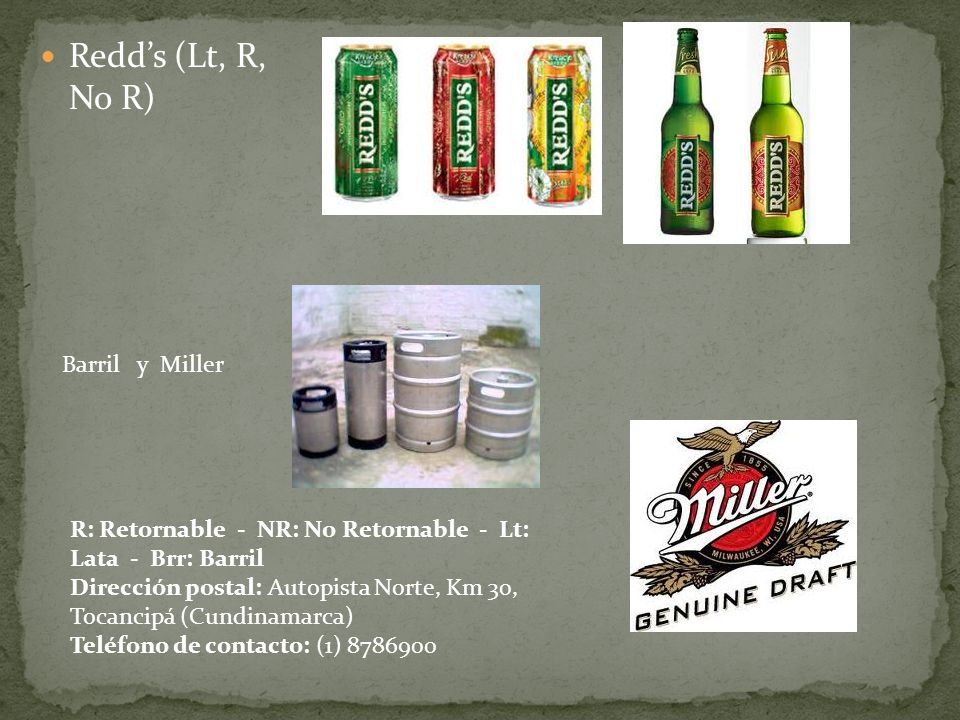 Redd's (Lt, R, No R) Barril y Miller