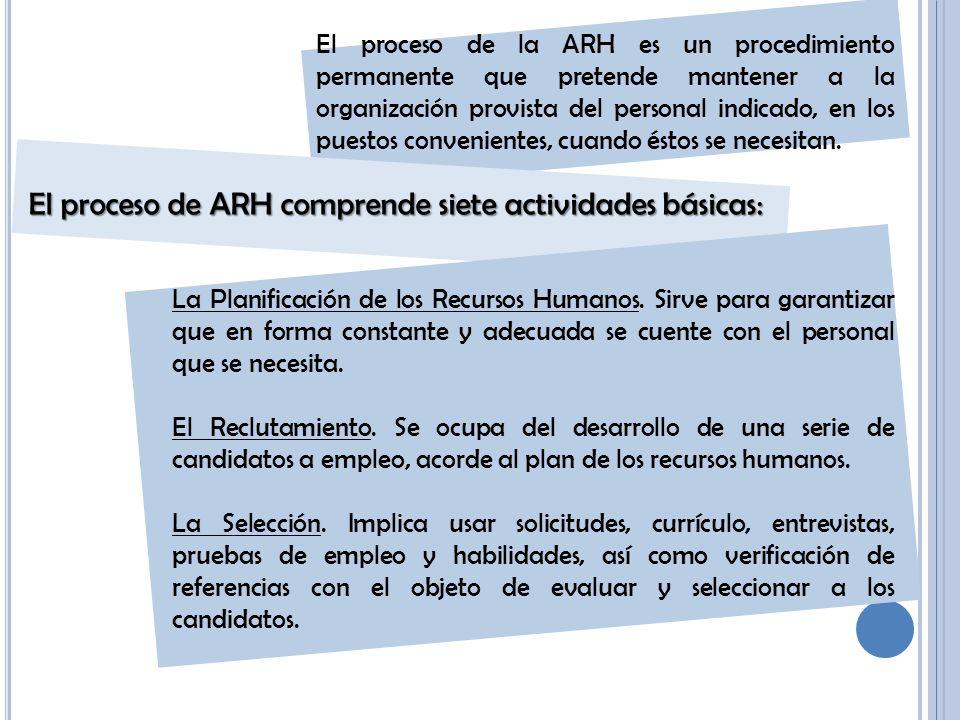 El proceso de ARH comprende siete actividades básicas: