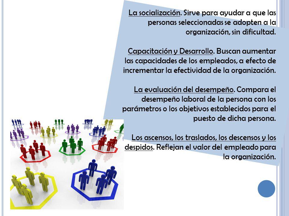 La socialización. Sirve para ayudar a que las personas seleccionadas se adopten a la organización, sin dificultad.
