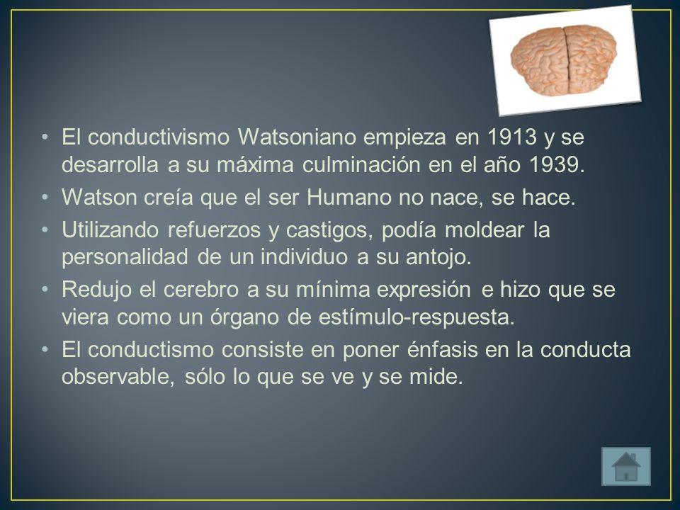 El conductivismo Watsoniano empieza en 1913 y se desarrolla a su máxima culminación en el año 1939.