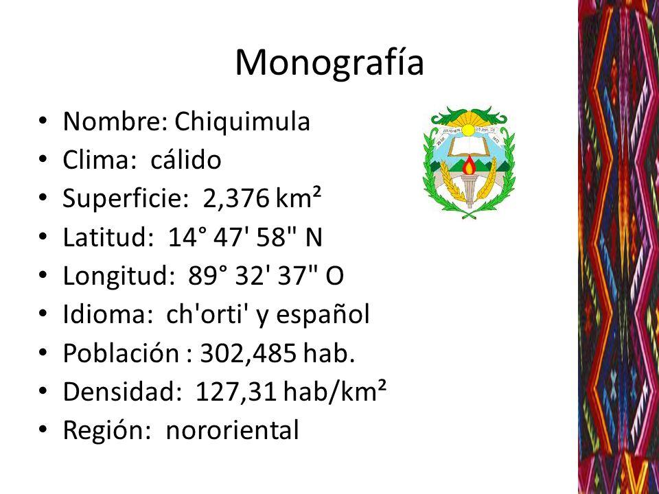 Monografía Nombre: Chiquimula Clima: cálido Superficie: 2,376 km²