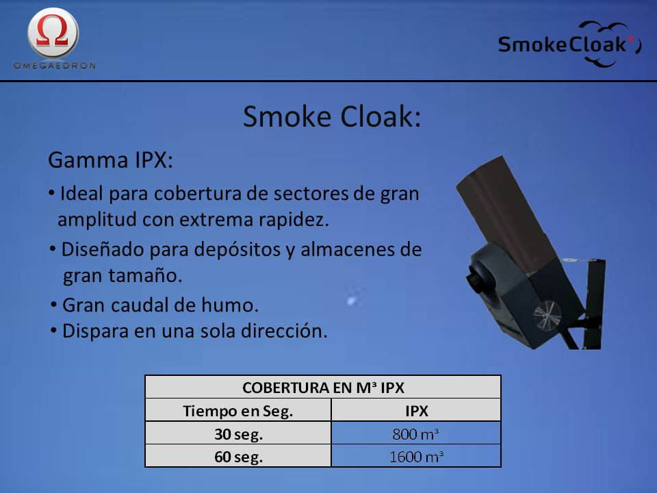 Smoke Cloak: Gamma IPX: Ideal para cobertura de sectores de gran